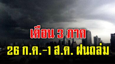 Photo of เตือน 3 ภาค ฝนตกหนักลมแรง ระวังน้ำท่วมฉับพลัน